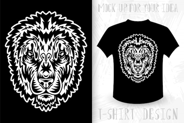 Lion gezicht. idee voor t-shirt print in vintage zwart-wit stijl.