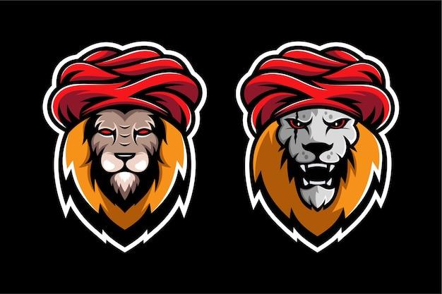 Lion goeroe mascotte ontwerpsjabloon