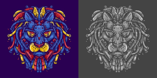 Lion head robot illustratie voor t-shirt