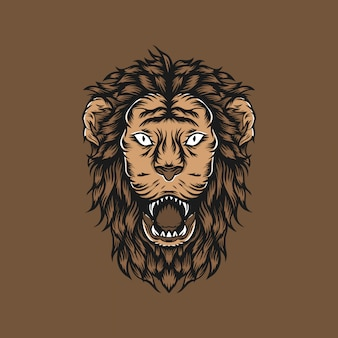 Lion head vintage handgetekende illustratie
