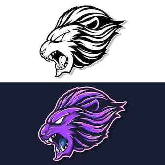 Lion hoofd mascotte logo