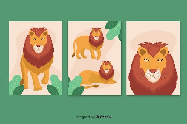 Lion-kaart collectie plat ontwerp