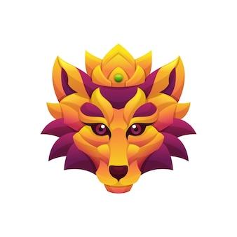 Lion king gradiënt kleurrijke vectorillustratie