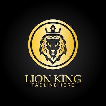 Lion king logo vector illustratie design.gold leeuwenkoning hoofd teken concept geïsoleerd zwarte background