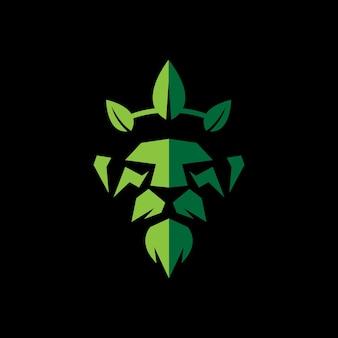 Lion king met bladeren kroon ontwerp logo sjabloon