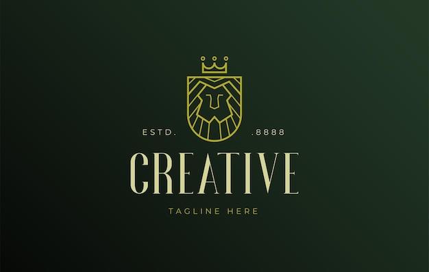 Lion king monoline logo ontwerp pictogrammalplaatje