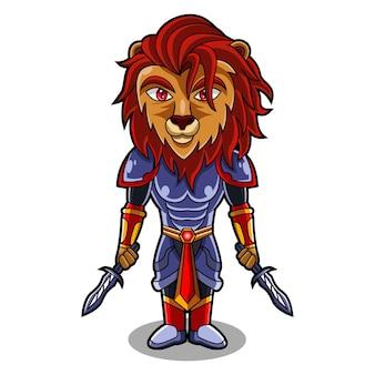 Lion knight chibi mascotte logo ontwerp
