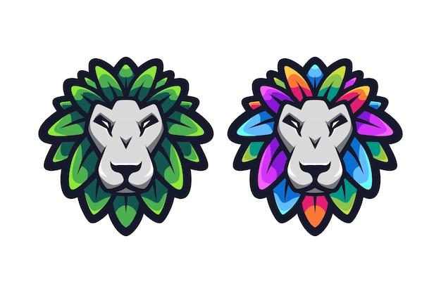 Lion leaf mascotte logo ontwerp