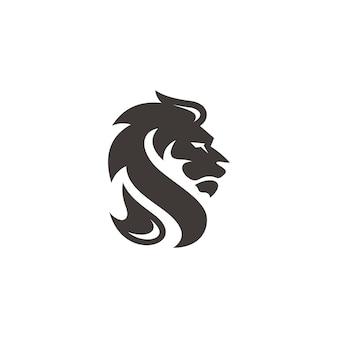 Lion leo hoofd gezicht haar silhouet logo icoon met zwarte en witte kleur