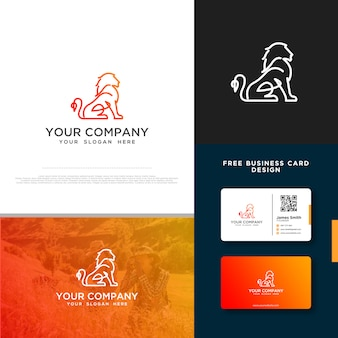Lion-logo met gratis visitekaartjeontwerp