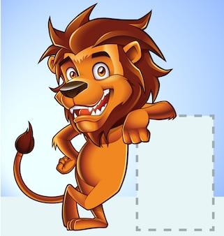 Lion mascot in cartoon stijl