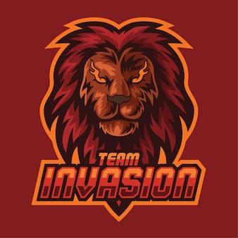 Lion mascot-logo voor esport