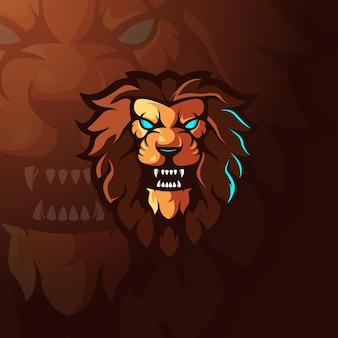 Lion mascot logo voor sportgaming en team Premium Vector