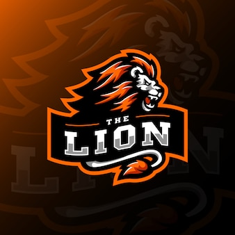Lion mascotte logo esport gaming illustratie