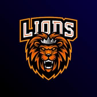 Lion mascotte logo esprot gaming.