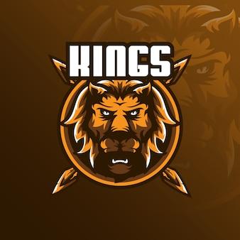 Lion-mascotte-logo met moderne illustratiestijl voor afdrukken van insignes, embleem en t-shirts.