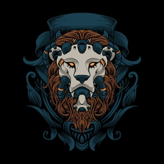 Lion ornament vector art illustration