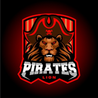 Lion pirates esport mascot logo ontwerp