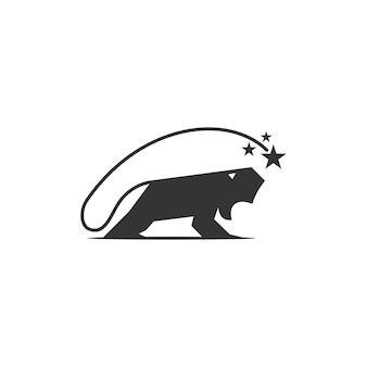 Lion star template illustratie embleem mascotte geïsoleerd