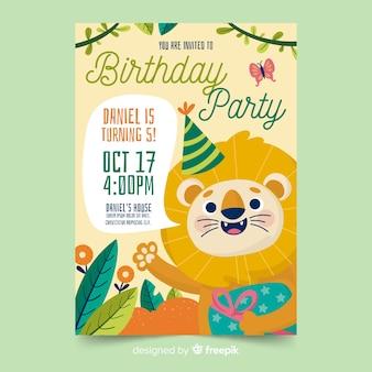 Lion verjaardag uitnodiging sjabloon