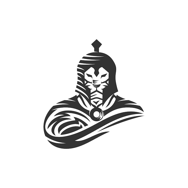 Lion warrior spartaanse sjabloon illustratie embleem mascotte geïsoleerd