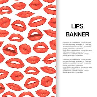 Lip kus, open mond met tanden banner