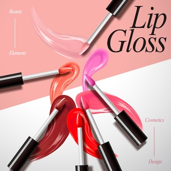 Lipgloss product collectie illustratie