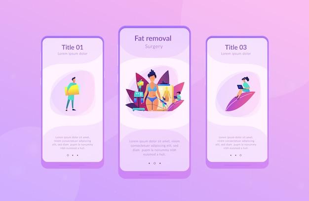 Liposuctie app interface sjabloon.