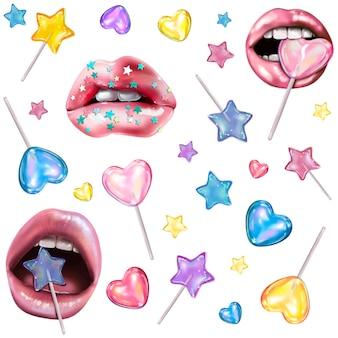 Lippen en lolly's vector geïsoleerde elementen