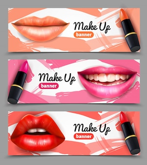 Lippen make-up horizontale banners instellen