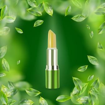 Lippenbalsem op groene achtergrond