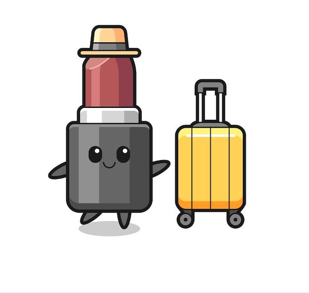 Lippenstift cartoon afbeelding met bagage op vakantie, schattig stijlontwerp voor t-shirt, sticker, logo-element