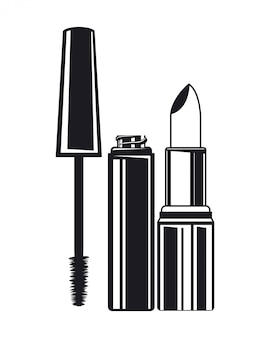 Lippenstift en wimpers vormen het product