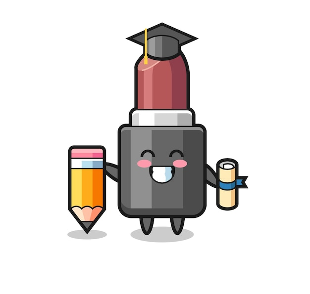 Lippenstift illustratie cartoon is afstuderen met een gigantisch potlood, schattig stijlontwerp voor t-shirt, sticker, logo-element