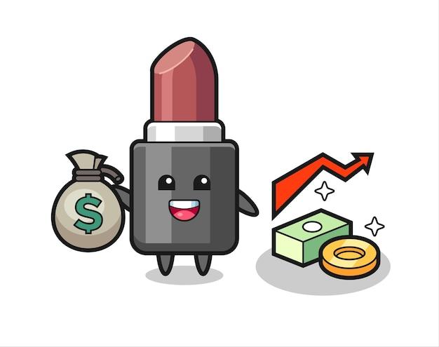 Lippenstift illustratie cartoon met geldzak, schattig stijlontwerp voor t-shirt, sticker, logo-element