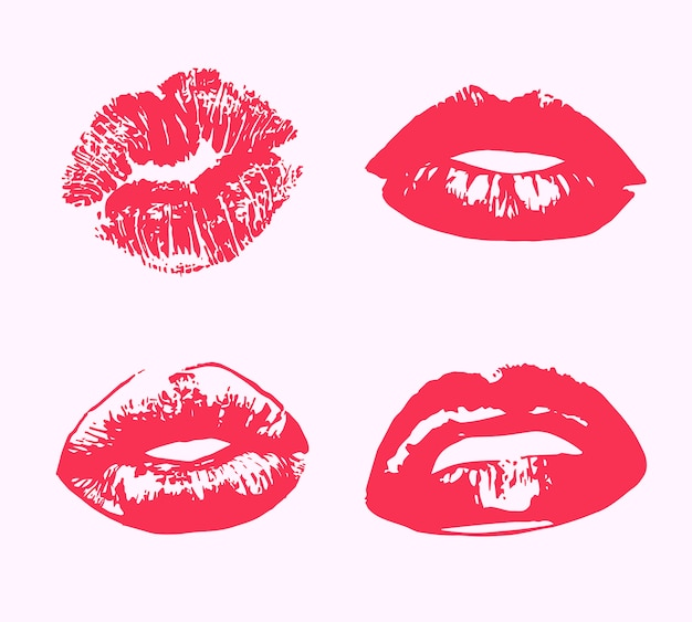 Lippenstift kus print geïsoleerd