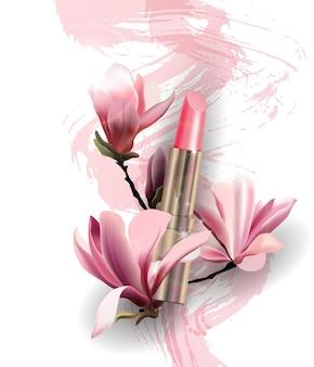 Lippenstift met bloemen magnolia lente en schoonheid backgroundtemplate vector