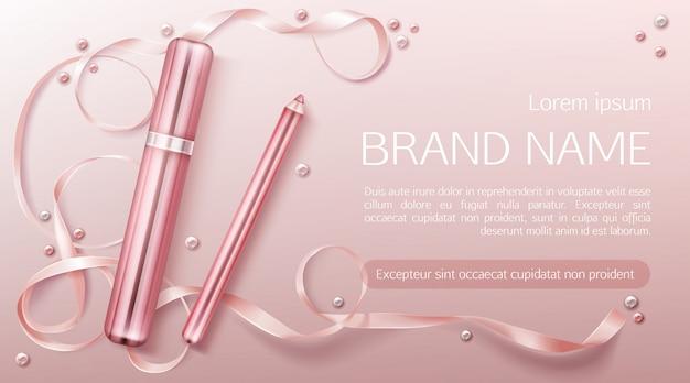 Lippenstift met sjabloon voor lintbanner