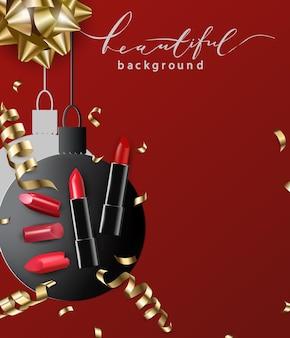 Lippenstift rode achtergrond papieren ballen de sjabloon voor het weergeven van cosmetische producten