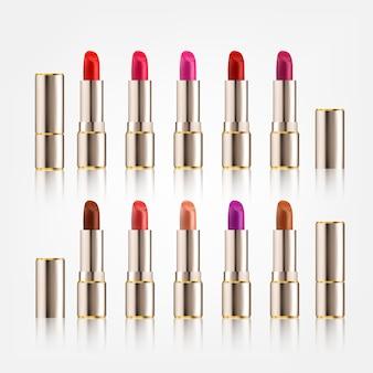 Lippenstift set met verschillende kleuren in cosmetica mock-up van verpakkingsontwerp
