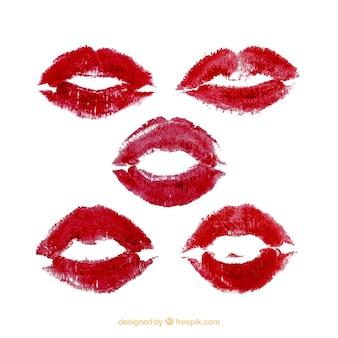 Lipstickkussen-collectie in rode en rose kleur