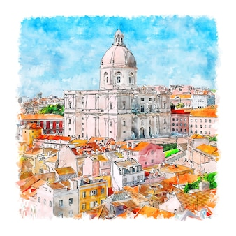 Lissabon portugal aquarel schets hand getrokken illustratie