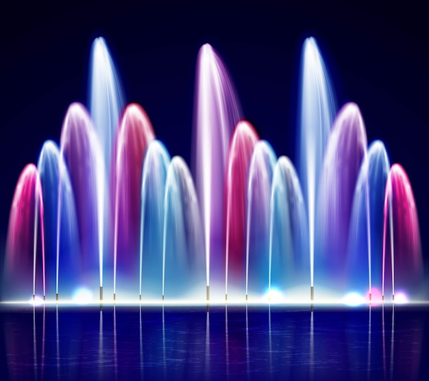 Lit night colorful fountain realistic illustration