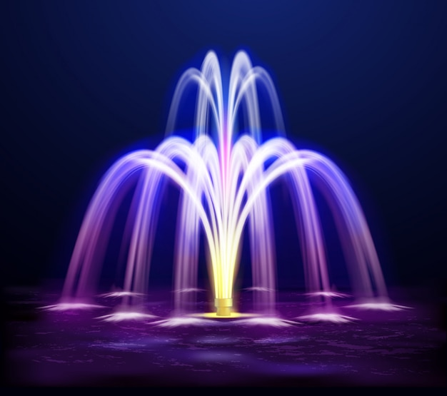 Lit night fountain realistic illustration