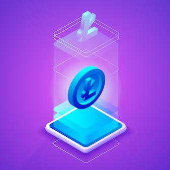 Litecoin cryptocurrency illustratie voor blockchain mijnbouw boerderij technologie.