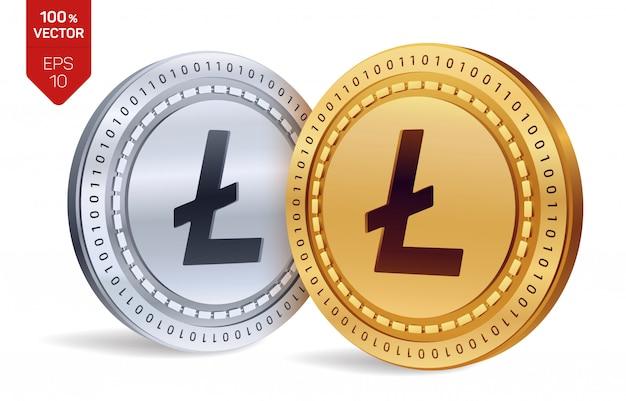 Litecoin. gouden en zilveren munten met geïsoleerde litecoin. cryptogeld.