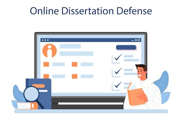 Literaire criticus online service of platform. professionele journalist die een kunstwerk beoordeelt en rangschikt. online proefschrift verdediging. platte vectorillustratie