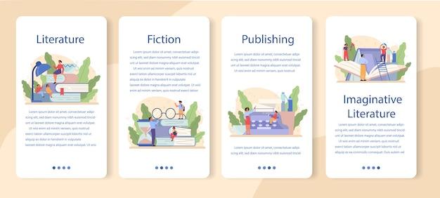Literatuur schoolvak mobiele applicatie banner set. webinar, cursus en les. idee van onderwijs en kennis. bestudeer oude schrijver en moderne roman.