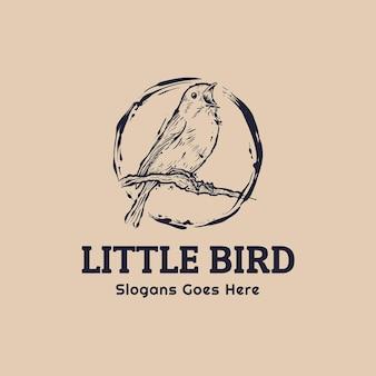 Little bird robin sing for spring hand getrokken vintage logo sjabloon
