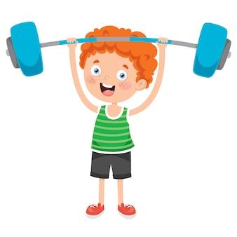 Little boy die gewichtheffenoefening maken
